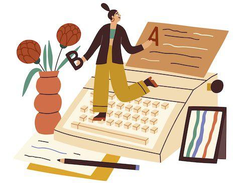 Writer Dancing on a typewriter