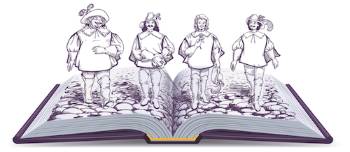 Four historical men coming out of book
