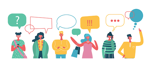 Speech bubbles of characters